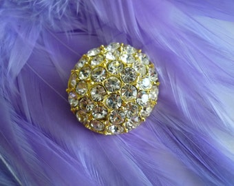 RHINESTONE  BUTTON, Gold Backing /  K