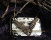 Ouija Planchette with hands necklace