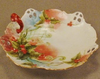 PLATE TIBBIT ROSENTHAL B R C Moliere Germany Berries Handpainted perforated Handle  6in diameter stunning colors 2 in tall