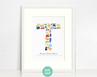 Custom Birth Announcement Print with Transportation Initial and birth stats