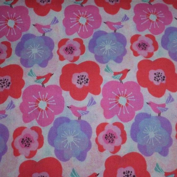 White all over bird floral nursery print cotton fabric for Bird nursery fabric