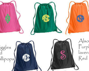 Personalized monogram cinch sak drawstring backpack great for school spirit or cheer