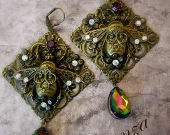 purple victorian earrings