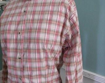 Vintage Western Shirt. Womans Vintage Plaid Texas Cotton Shirt Size M/L