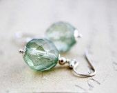 Dangle Earrings, Drop Earrings, Glass Earrings, Czech Glass, Sterling Silver, Mint Green, Sage, Pastel Green, Light Green, Spring Green
