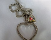 silver long necklace with rhinestones hearts locket  jewelry