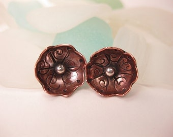 Stamped Copper & Sterling Flower Earrings