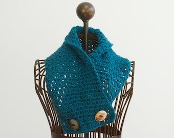 Scarf Crochet Pattern, Button Neck Warmer Pattern, Instant Download,  Easy Scarf PDF Pattern