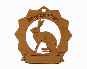 Belgian Hare  Personalized Wood Ornament