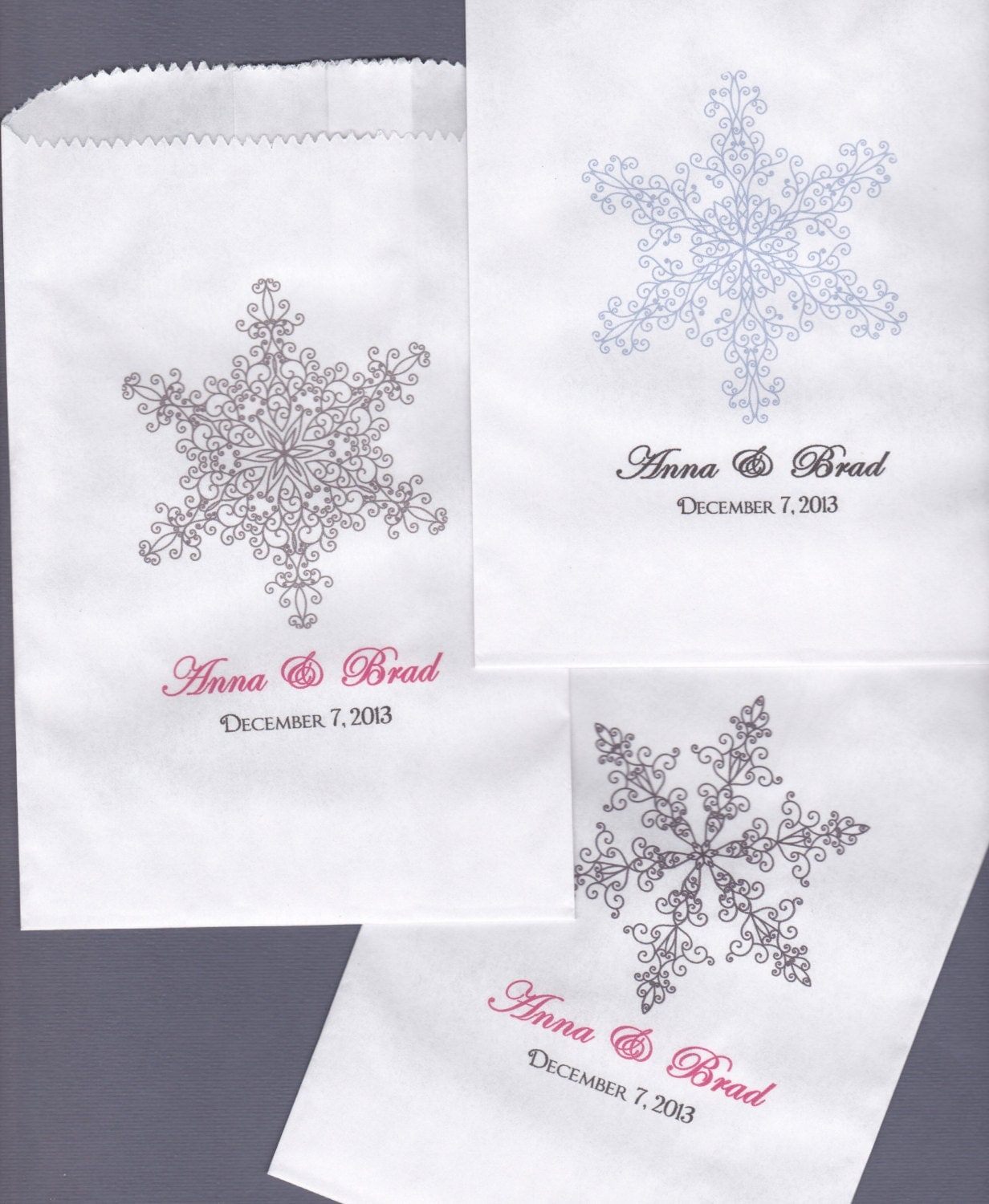 SNOWFLAKE Wedding Candy Buffet Bag Favor Bags By Wreathartist