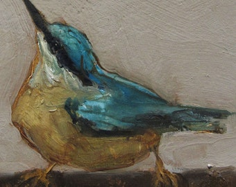 NUTHATCH  BIRD Colette W. Davis 4x4 Art Giclee print