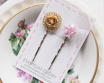 Ella - Rustic bobby pins with vintage treasures