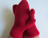 Felted Mittens Adult  Red Warm Maine Made