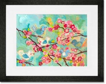 Framed & matted giclee print - cherry blossom birdies