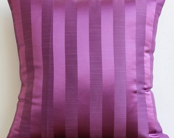 "Designer  Purple Throw Pillows Cover, Stripes Lounge & Club Pillows Cover Square  18""x18"" Jacquard Pillowcase - Purple Stripe"