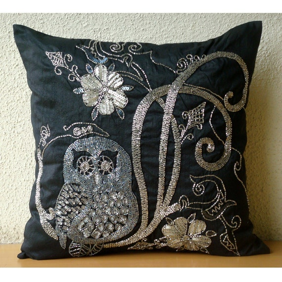 Embroidered Throw Pillow Covers : Decorative Throw Pillow Covers 16x16 Embroidered by TheHomeCentric