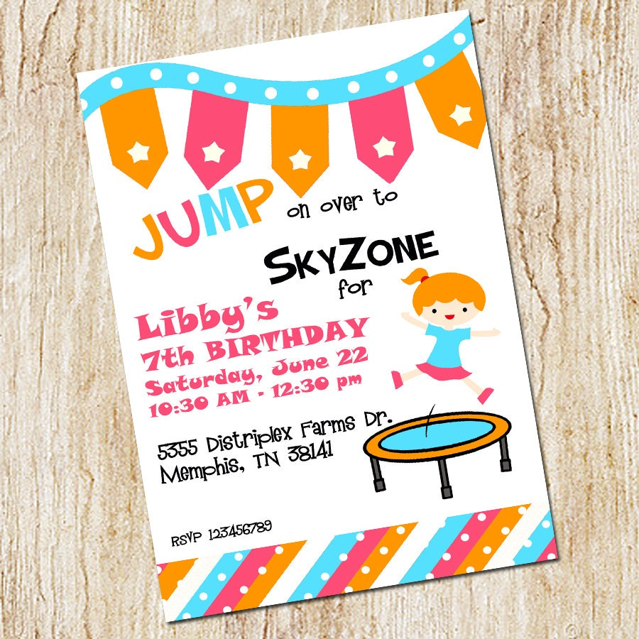 Trampoline Party invitation Sky Zone Birthday Invitation