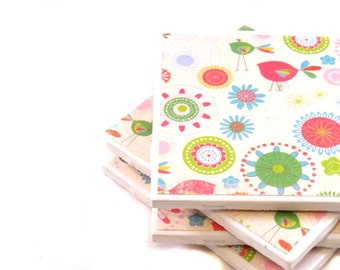 Tile Coasters - Spring Time - Set of 4 (Pink, Green, Blue and White) LAST SET