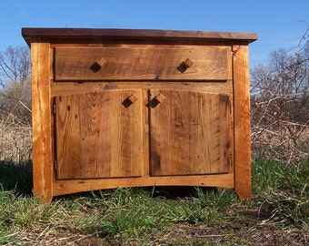 Butcher Block Kitchen Island from Reclaimed Hardwood with Cabinet Base