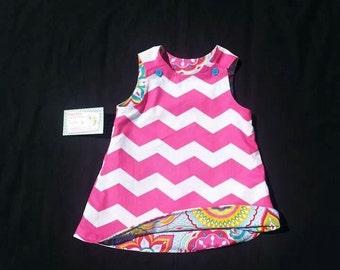 Girls Spring Dress - Pink Dress -  Shift Dress - Reversible Shift Dress -  Chevron Dress - Groovy Gurlz