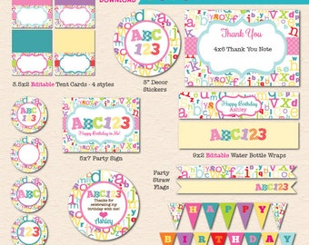 Girls' ABC123 Alphabet Birthday Printable Party - INSTANT DOWNLOAD PDF File