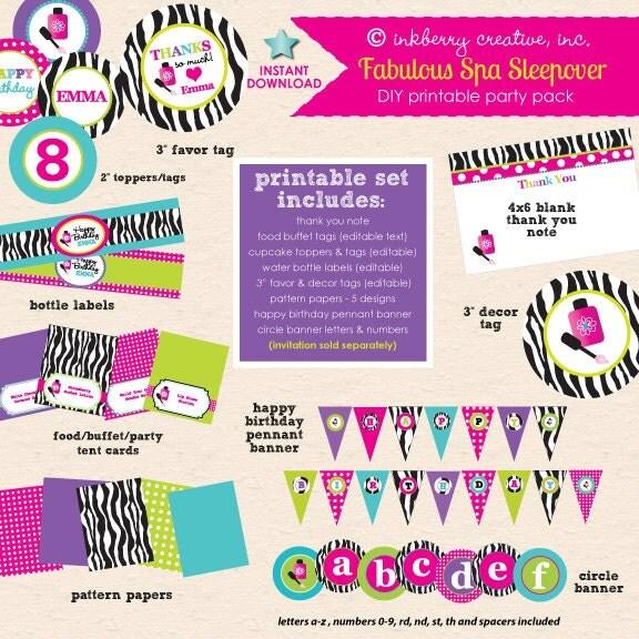 Fabulous Spa Sleepover Hot Pink Aqua & Zebra Birthday Party