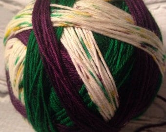 fat tuesday self striping mardi gras yarn  dyed to order just for you