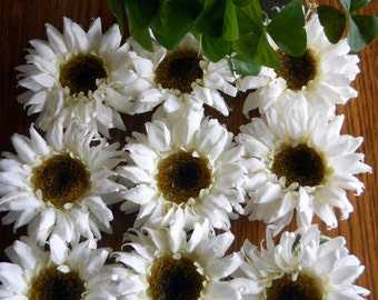 Napkin Rings - Farmhouse Shabby Chic Style- Daisy Decor Wedding Shower Flower , Large Realistic Patio Party Decor,  Set of 10