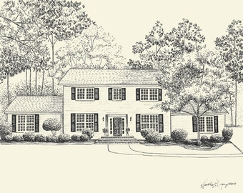 House Portrait - Custom Pen and Ink Drawing  - First Anniversary Paper Gift