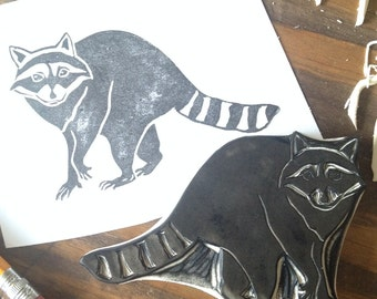 Raccoon Hand Carved Stamp
