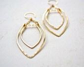 Rope Swing Earrings - gold marquis earrings, hammered gold chandelier earrings, gold statement earrings, gold leaf dangle earrings, E14G