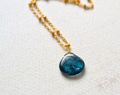 Tidepool Petite Necklace - moss kyanite blue gemstone necklace, moss kyanite necklace, organic solitaire, handmade jewelry, wedding jewelry