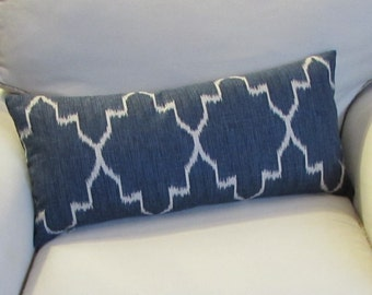 Blue Ikat bolster pillow designer fabric  MONACO SAPPHIRE  12x26 with insert