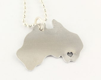 Personalized Australia Necklace - Hand Stamped Down Under Country Outline - Long Distance Romance Necklace - Best Friend Gift