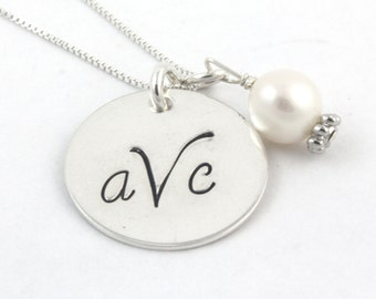 Classic Monogram Sterling Silver Pearl Necklace - Personalized Custom Gift - Mother's Day Gift - Initials