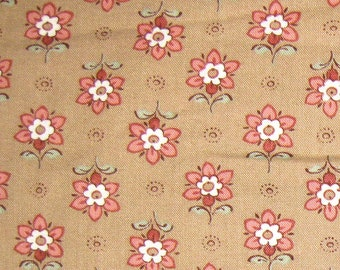 Vintage Small Print FLORAL Cotton Fabric -Tan and Pink