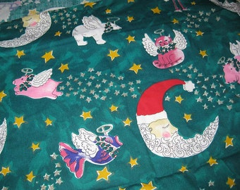 Whimsical Christmas Fabric - PIgs Hippos Cows Fish Angels - Santa - Dark Green Cotton Yardage