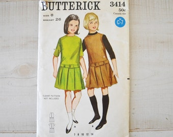 1960s vintage butterick patter for girl--size 8---Butterick 3414--vintage girls dress or jumper pattern
