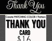 Optional MATCHING Thank You Card Design - only for Starlite invitation designs