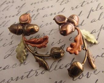Acorn Earrings Art Nouveau Pierced earrings Victorian acorns earrings vintage post earrings