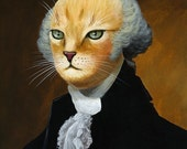"Cat art print... Abstract George Washington cat Art ... George, 8 1/2"" x 11"" Print of cat painting"