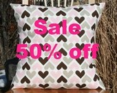 I Heart U Pillow Cover - Bella Pink and Chocolate Brown - Sale 50% off