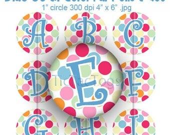 Blue Jean Colorful Polka dot Bottle Cap Digital Images Set 1 Inch Circle Alphabet Alpha A-Z 4X6 - Instant Download - BC288