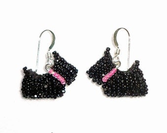 Pink Beaded SCOTTIE DOG Scottish Terrier jewelry sterling silver dangly earrings / Ready to Ship/ Free US Shipping