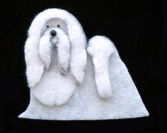 MALTESE Felt Dog Shape for Bead Embroidery, Making Beaded Animals, Crafting, or Embellishment