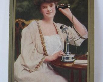 Woman on Phone Postcard Vintage