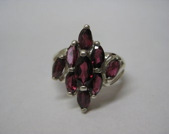 Garnet Marquise Sterling Silver Ring Size 7 1/4 Vintage Avon 925