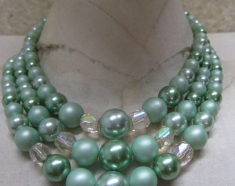 Green Pearl Aurora Three Strand Necklace Vintage Bead Glass Japan