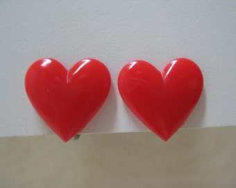 Heart Red Earrings Screw Vintage Plastic