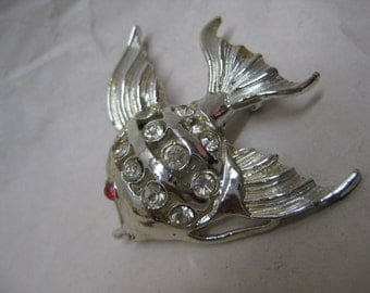 Fish Silver Red Brooch Clear Rhinestone Vintage Pin Tropical